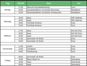 Kursübersicht 2019 Graz Bianca Schmuck Personaltraining